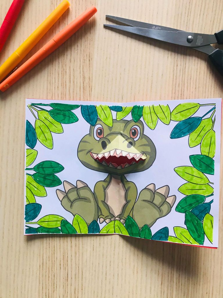 Carte pop up dinosaure facile à faire