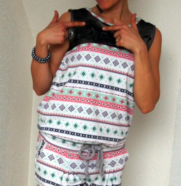 Jumpsuit Julika von Prülla aus Jersey (Art Gallary Fabrics) und Oberteil aus Doppel-Pailletten-Stoff
