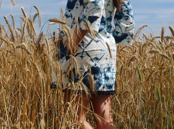 Tunika Carla : Batik auf Japanisch Shibori