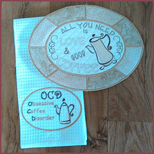 In The Hoop Coffee Placemat Coaster And Towel Topper