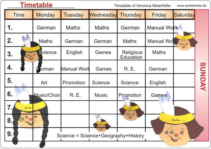 Timetable Worksheet