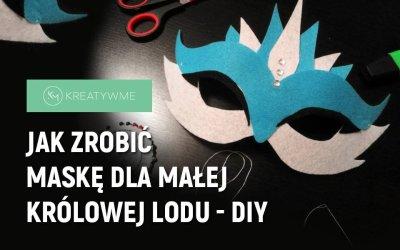 Maska karnawałowa z filcu lub papieru – królowa lodu – DIY szablon