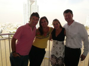 Here we all are at the fair in Bangkok—but luckily both couples got our jobs before the fair.  Yahoo!  What a relief!
