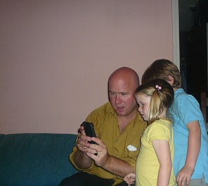 TonyPappa shared his iPhone with the kids--of course Vincent was enthralled.  He wants his own iTouch!