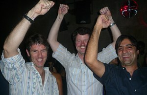 All the fellas raisin' up their arms...