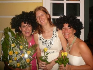 Kim, the bride, with her best friends, Catherine and Sandy.