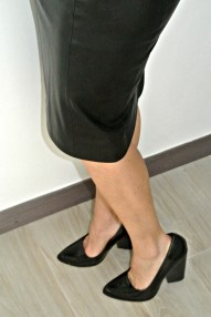 Leather Skirt Black Pumps