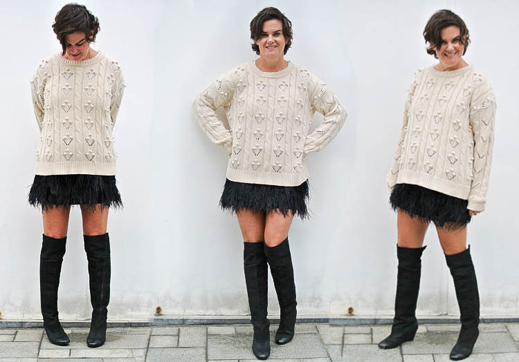 Pair Bold with Cozy Feather Skirt with Fisherman Sweater