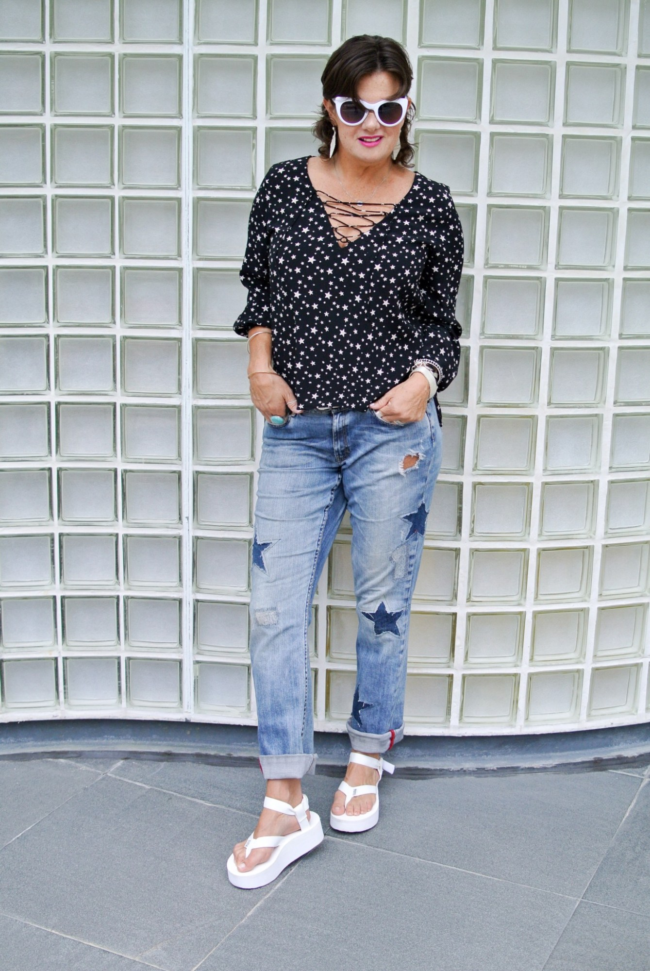 DIY Star Patched Jeans 6