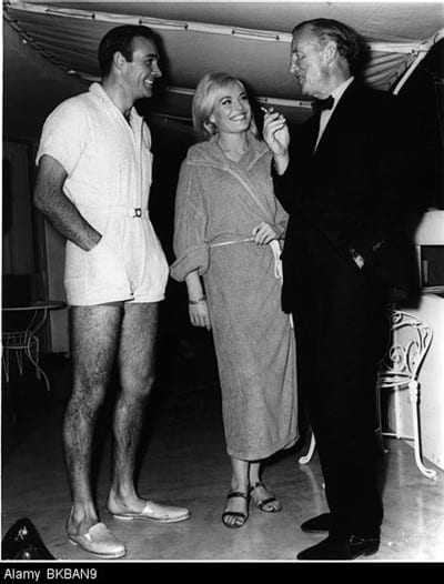 Ian Fleming on the set of 'GOLDFINGER' (1964) with Sean Connery and Shirley Eaton