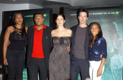 Nona Gaye, Laurence Fishburne, Carrie-Anne Moss, Keanu Reeves, Jada Pinkett Smith at the press conference in Los Angeles for The Matrix Revolutions
