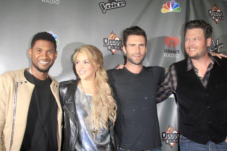 Usher, Shakira, Adam Levine and Blake Shelton