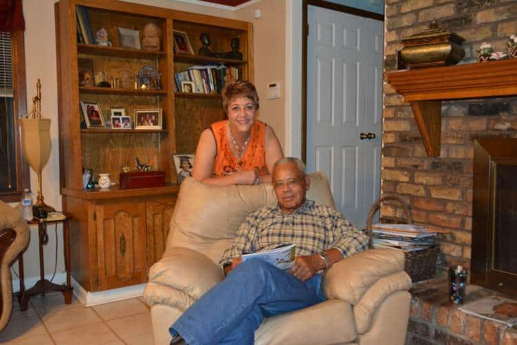 Pat and Donald Cravins at home. A rare moment of relaxation.