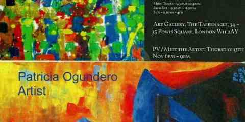 Patricia Ogundero showcases new paintings 'Dancing in the Sun' at The Tabernacle Gallery.