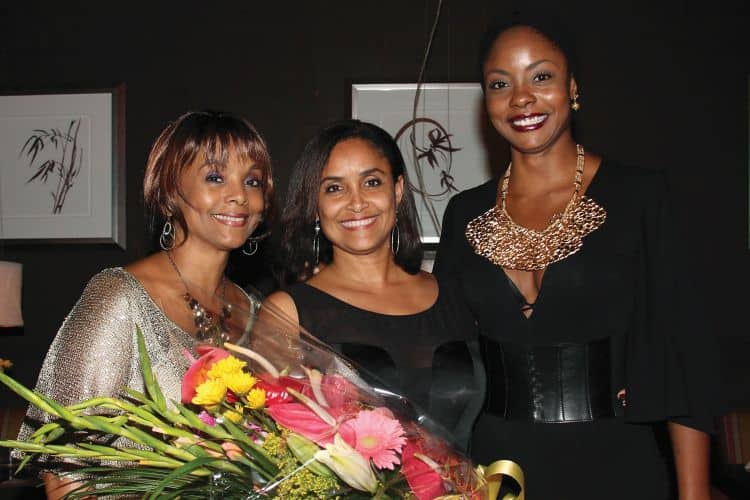 The queens at a celebration of Giselle'S 25th anniversary as Miss World hosted by Angostura Limited. On GISELLE'S RIGHT is Janelle Commissiong – Miss Universe 1977 and ON GISELLE'S LEFT IS Wendy Fitzwilliam – Miss Universe 1998 – both from Trinidad and Tobago
