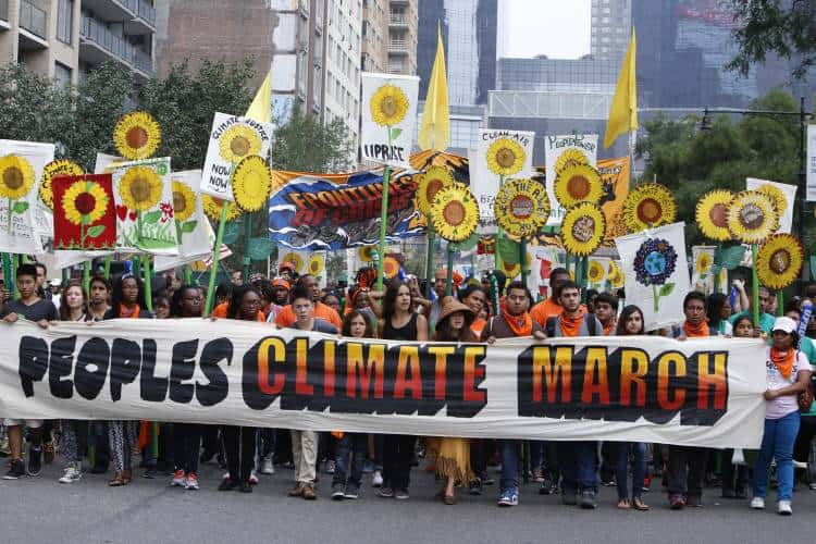 NEW YORK CITY - SEPTEMBER 21 2014: the People's Climate March in Manhattan brought severala hundred thousand people for a march from Columbus Circle through Midtown calling attention to global warming. Photo: A Katz