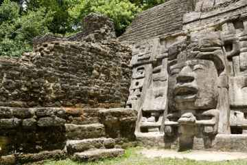 Ancient Maya Mask Temple located in the jungle of Belize