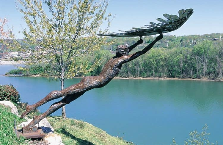 Icarus, life size, carved steel, Bluff View Art District, permanent collection, Chattanooga.Tn