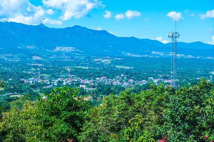 Landscape view of Pai city, Thailand.