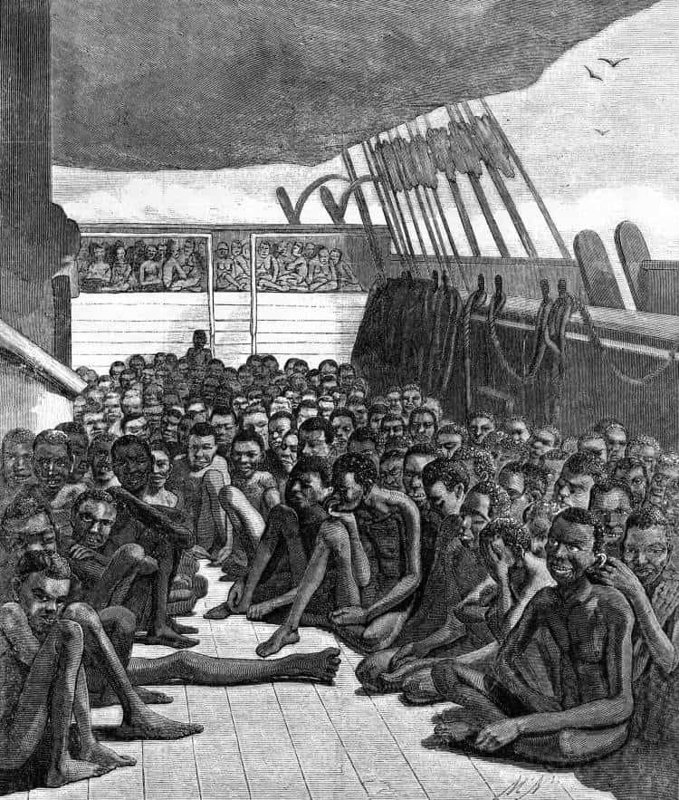 The slave deck of the ship 'Wildfire', was captured, transporting 510 slaves, from Africa to the Caribbean. Wood engraving after daguerreotype made in Key West on April 30, 1860 Photo: Everett Historical