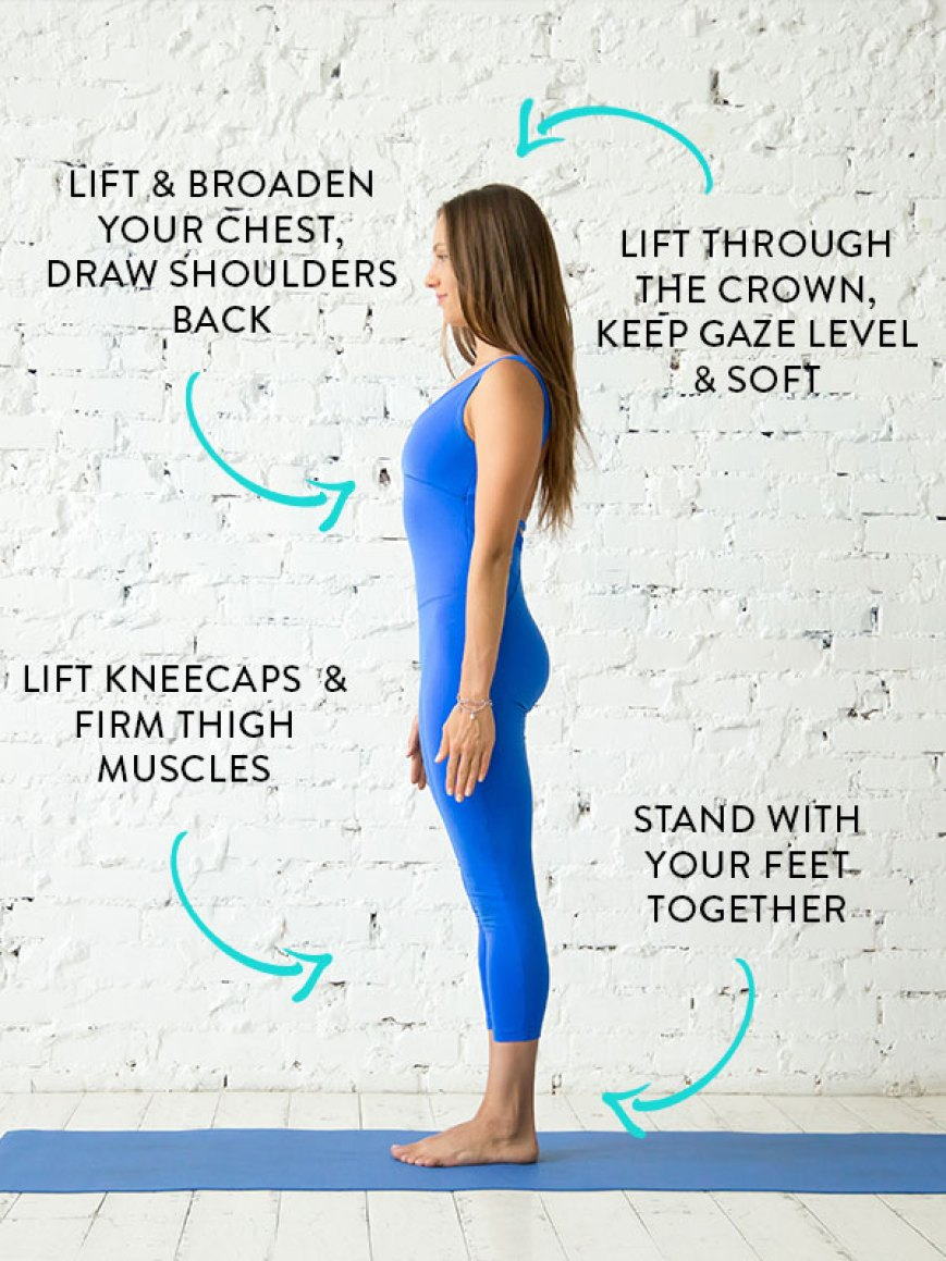 yoga for runners - Tadasana -  It stretches and lengthens all the long muscles of the body, while also opening the spinal, shoulder and hip joints. This pose strengthens the muscles of the neck, lower back, abdomen and pelvis. Lung capacity increases, and the respiratory muscles become firmer.