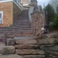 Bluestone Treads with Fieldstone Veneer Strips and Walls