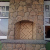 Fieldstone Fireplace with Bluestone Hearth