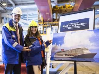 Meyer Turku CEO Jan Meyer und Reederei-Chefin Christine Duffy starteten den Bau des Schiffes. Foto: Carnival Cruise Line