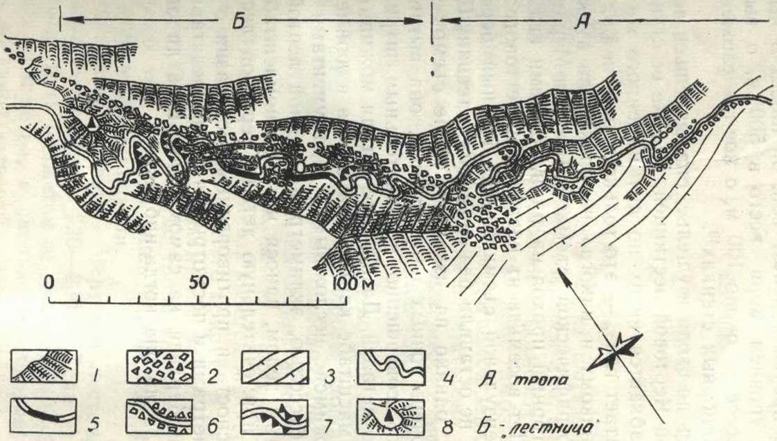 План Чертовой лестницы (Б) и подхода к ней (А)