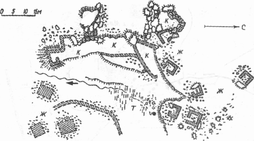 Поселение у источника на западном склоне горы Ильяс-Кая: ж — жилые хижины; к — кошары; т — разработки травертина (По О.И. Домбровскому)
