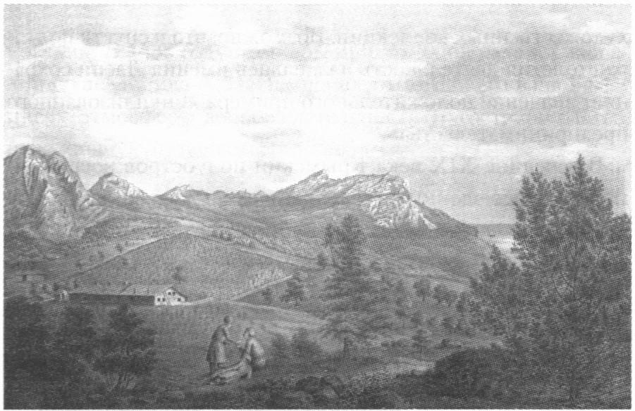 Вид усадьбы и долины Ласпи. Рисунок Ф. Дюбуа-де-Монпере. 1838 г
