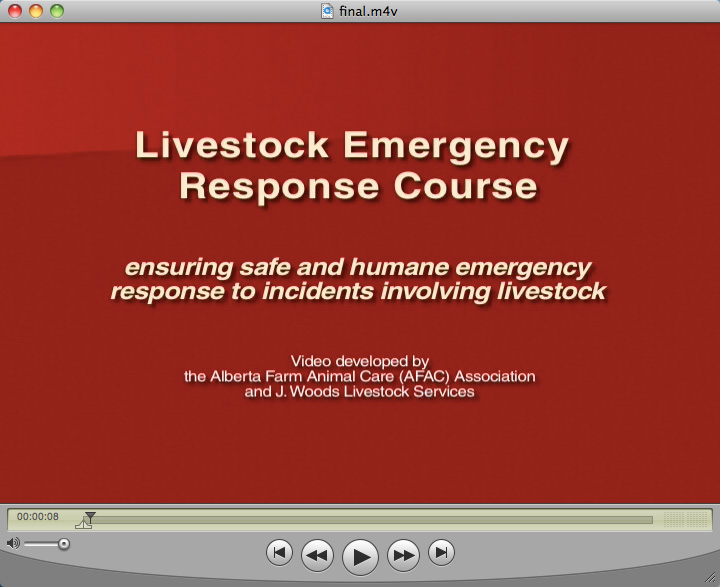 AFAC Livestock Emergency Response Course (DVD and Video Footage/Production)