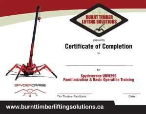Burnt Timber Lifting Solutions Certificate