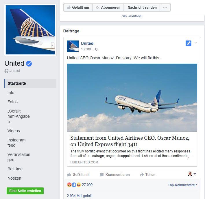 Das zweite Statement von United Airlines zum Vorfall schafft schon wesentlich weniger Reichweite. Nur noch 27.228 Personen reagieren, der Beitrag wird nur noch 2.934 mal geteilt. Ein gutes Beispiel dafür, dass die erste Reaktion in der Krise zählt, was später noch feingeschliffen nachkommt, erreicht die Menschen nicht mehr. Die Meinung ist gebildet, andere Themen rücken in den Fokus.