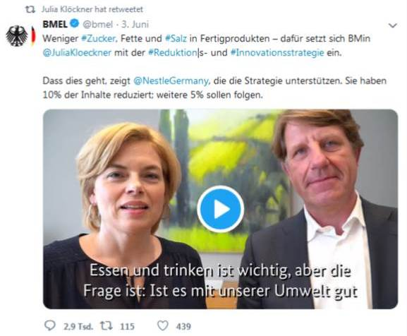 Tweet mit Julia Klöckner und Nestlé zum Thema Reduktionsstrategie