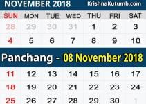 Panchang 08 November 2018