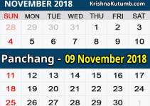 Panchang 09 November 2018