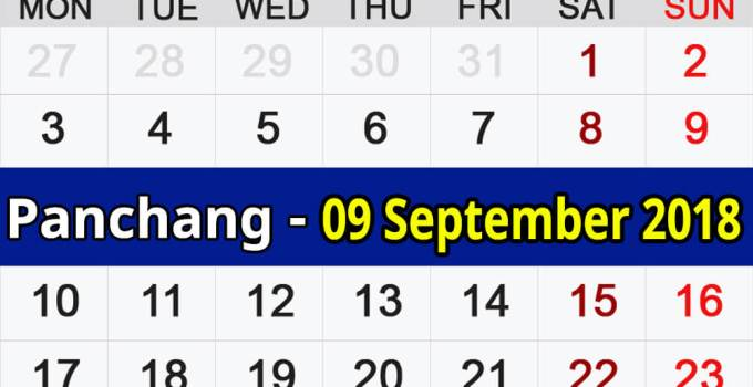 Panchang 09 September 2018