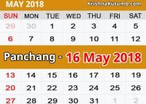 Panchang 16 May 2018