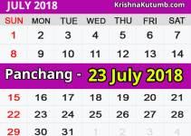 Panchang 23 July 2018