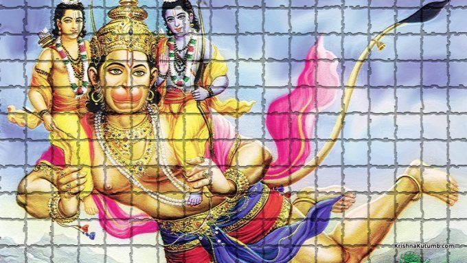 Tile wall painting of Hanuman Ji - Krishna Kutumb™