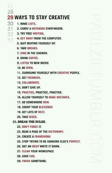 ways to be Creative
