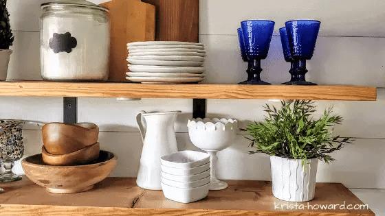DIY wood shelves with hardwire under shelf lighting