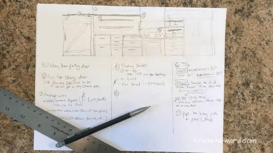 Plan drawing of DIY kitchen renovation