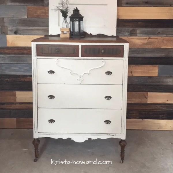 White painted vintage dresser