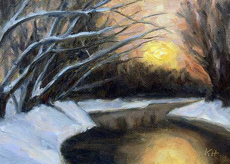 "Winter Sunset 5x7"" oil by Krista Hasson"