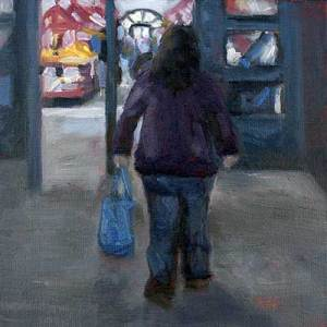 City Market woman shopping painting