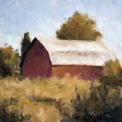 """""""Country Barn"""" 6x6"""" oil by Krista Hasson"""