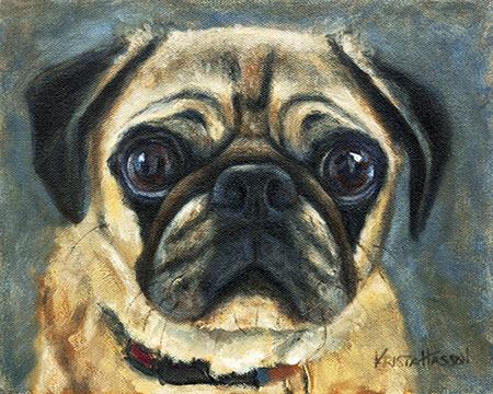 I love dogs! Oil and Watercolor Pug Paintings