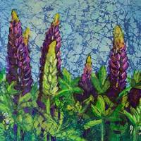 Wild Lupines watercolor batik by Krista Hasson